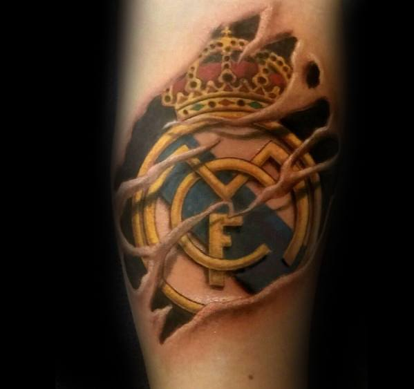 Inner Forearm 3d Guys Tattoos With Real Madrid Design