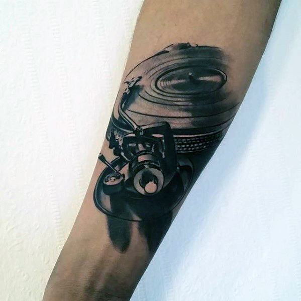 50 Vinyl Record Tattoo Designs For Men Long Playing Ink