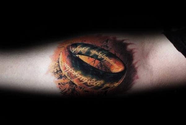 inner forearm 3d lord of the rings tattoo design ideas for men