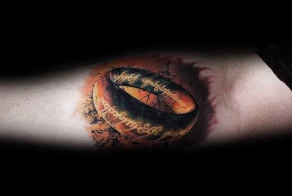 Inner Forearm 3d Lord Of The Rings Tattoo Design Ideas For Men