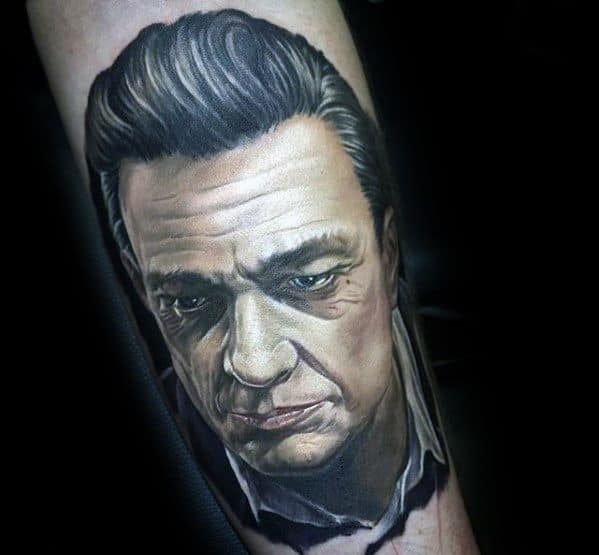 Inner Forearm 3d Male Johnny Cash Tattoo Design Inspiration