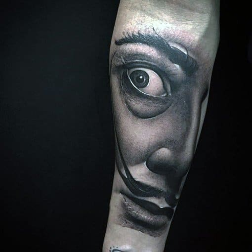 Inner Forearm 3d Salvador Dali Guys Tattoos