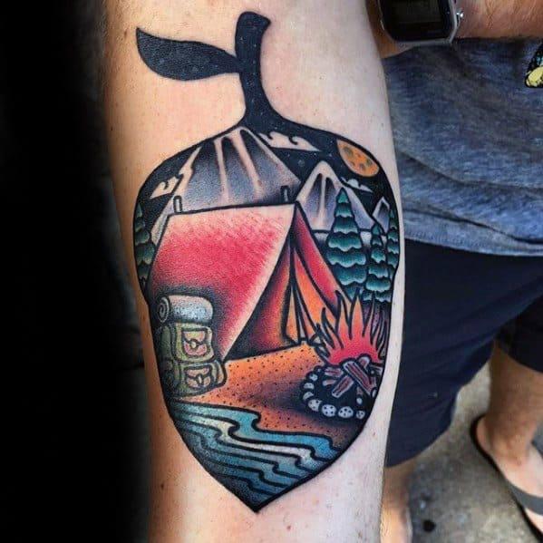 Inner Forearm Acorn Tent Tattoo Design On Man