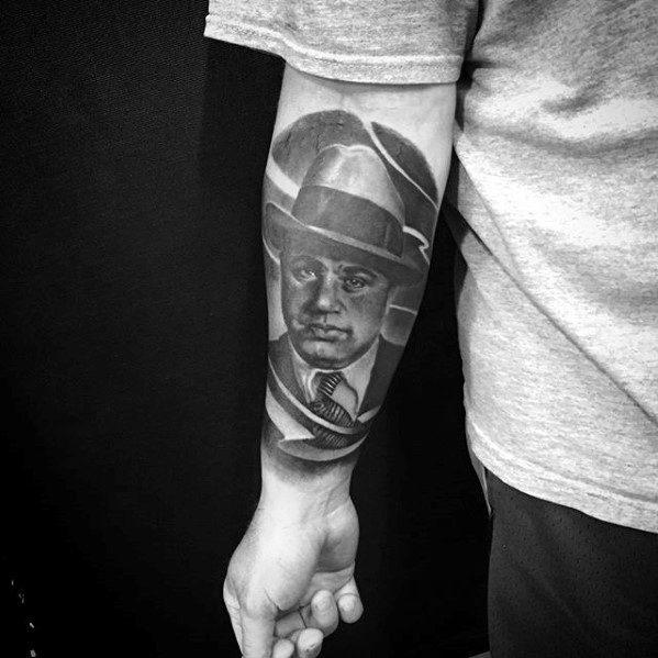 Inner Forearm Al Capone Male Tattoo Designs