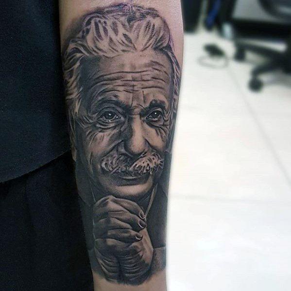 Inner Forearm Albert Einstein Mens Tattoo Ideas