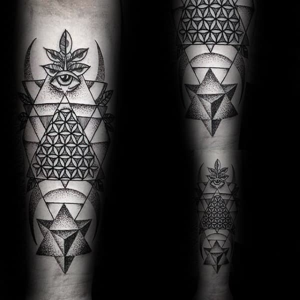 Inner Forearm All Seeing Eye Flower Of Life Triangle Tattoos For Guys