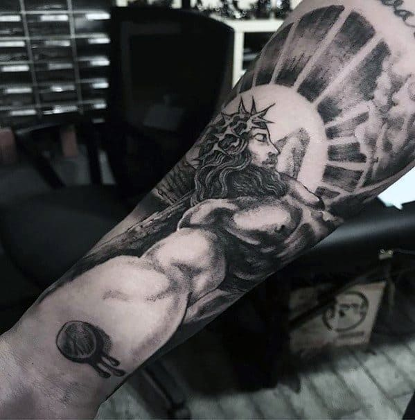 Inner Forearm Amazing Mens 3d Jesus Tattoo Designs
