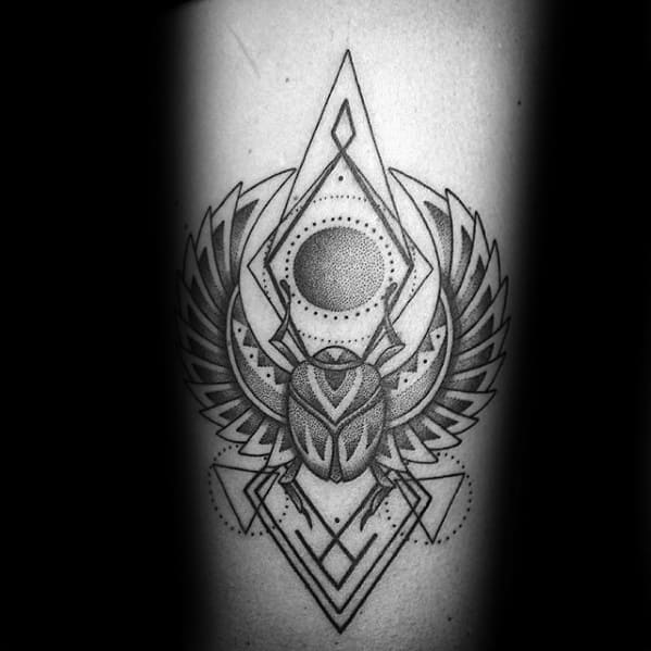 inner forearm amazing mens geometric detailed scarab bettle tattoo designs