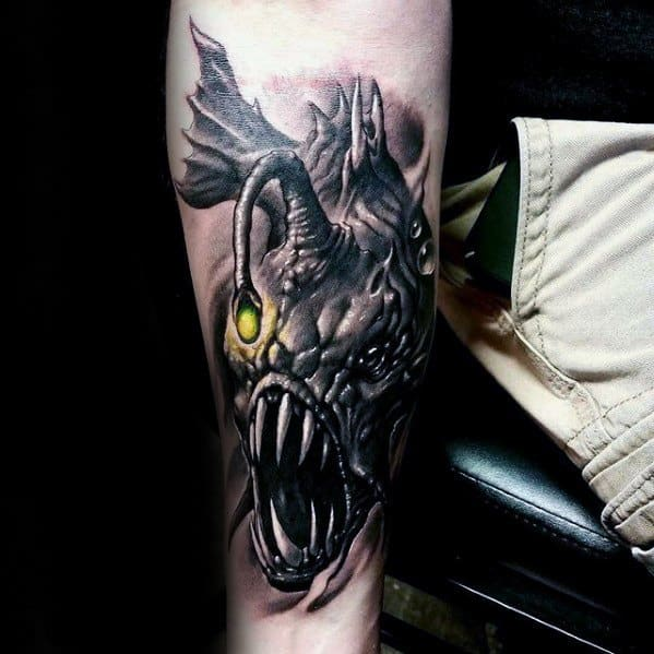 Inner Forearm Angler Fish Mens Tattoo Ideas