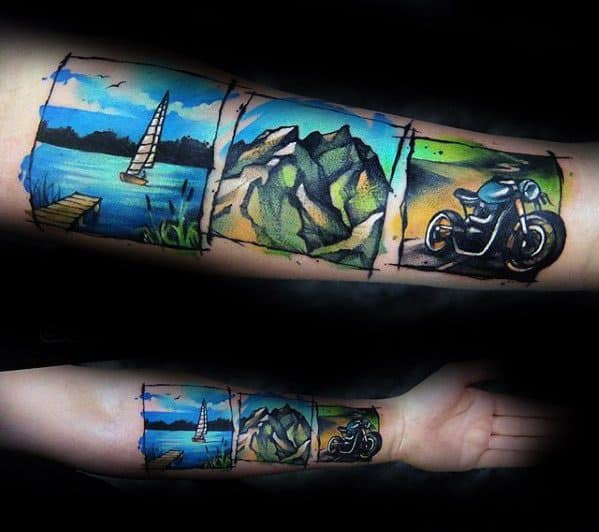 Inner Forearm Artistic Male Lake Tattoo Ideas