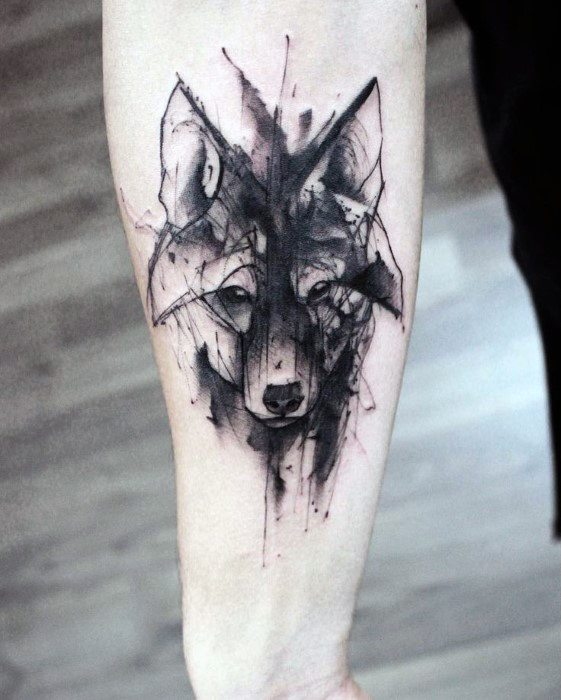 Inner Forearm Artistic Male Wolf Watercolor Tattoo Ideas