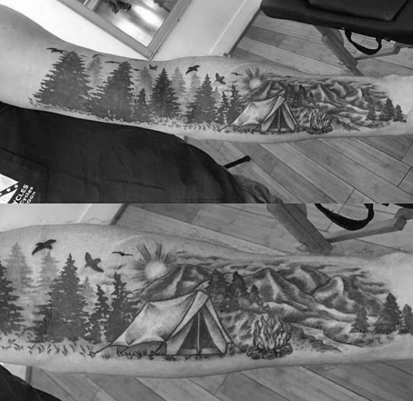 Inner Forearm Awesome Ink Camping Tattoos For Men