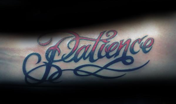 Inner Forearm Awesome Patience Tattoos For Men