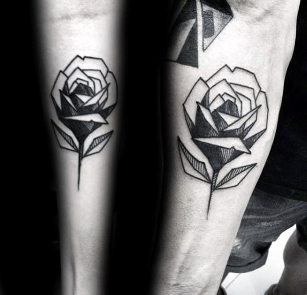 Inner Forearm Back Ink Guys Geometric Rose Tattoo Inspiration