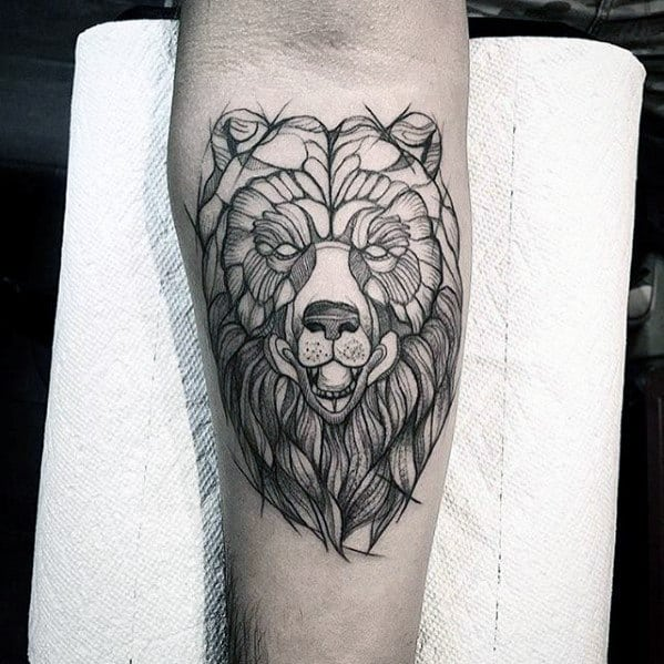 Inner Forearm Bear Mens Sketch Tattoo Ideas