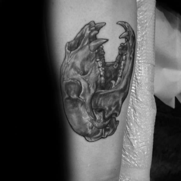 Inner Forearm Black And Grey Bear Skull Tattoo Ideas For Gentlemen