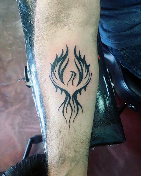 Inner Forearm Black Ink Male Phoenix Tattoo Designs