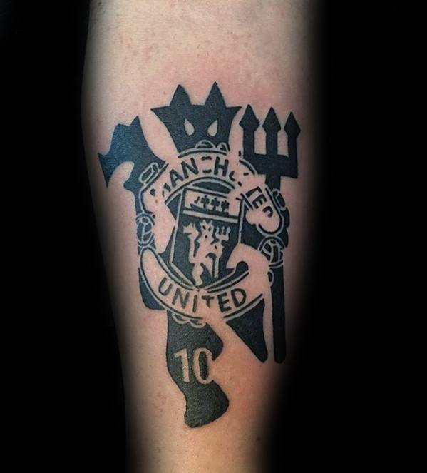 Inner Forearm Black Ink Manchester United Male Tattoos