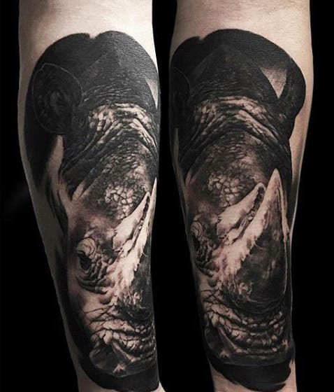 Inner Forearm Black Ink Realistic Rhino Tattoo Designs For Men