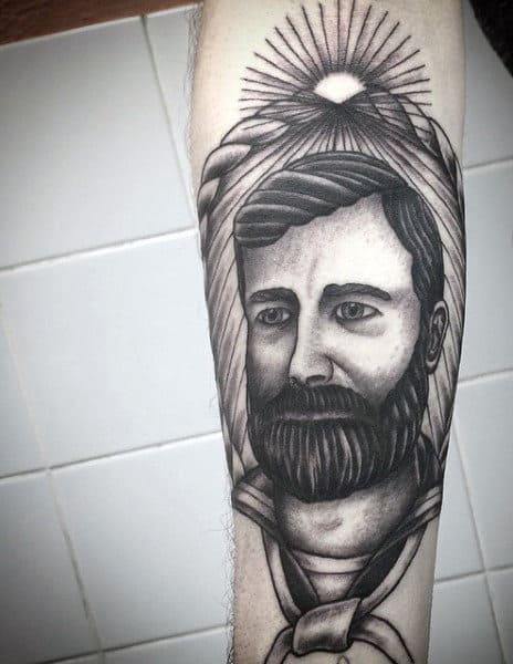 Inner Forearm Black Ink Sailor Tattoo Ideas