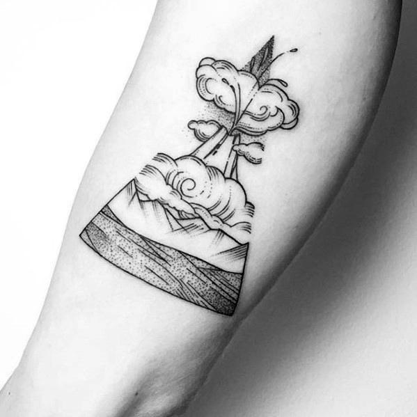 Inner Forearm Black Ink Volcano Tattoo Ideas For Gentlemen