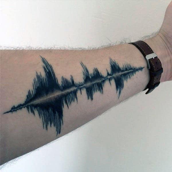 Inner Forearm Blue Ink Soundwave Tattoos For Guys