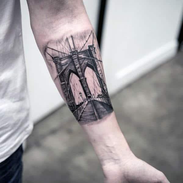 Inner Forearm Bridge Mens Unique Tattoo Designs