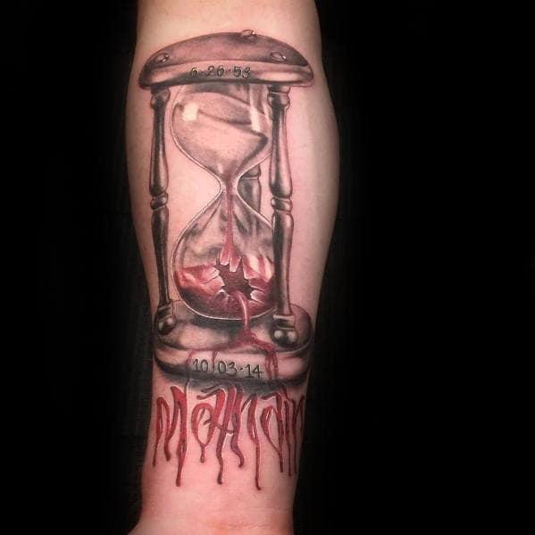 Inner Forearm Broken Hourglass Blood Tattoo Design For Guys