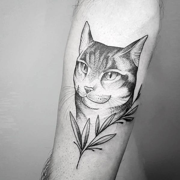 Inner Forearm Cat Tattoo On Man