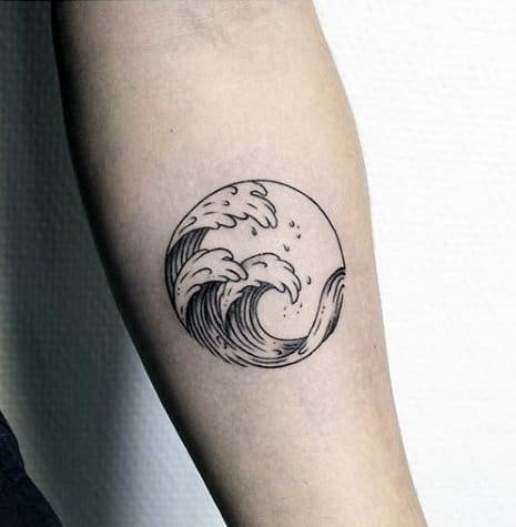 Inner Forearm Circle Manly Simple Wave Tattoos For Men