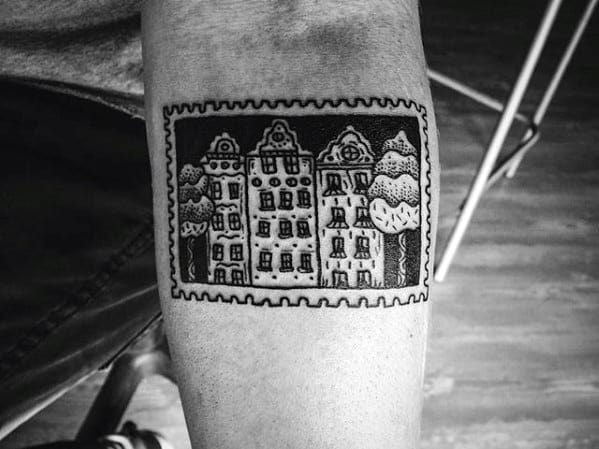Inner Forearm City Buildings Small Male Postage Stamp Tattoo Ideas