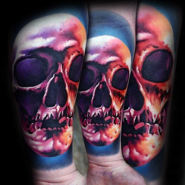 Inner Forearm Colorful Mens Realistic Skull Tattoo