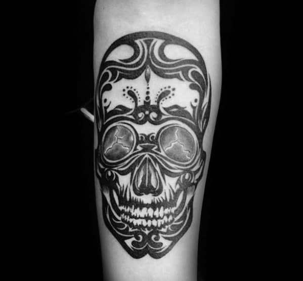 Inner Forearm Cool Male Tribal Skull Tattoo Designs