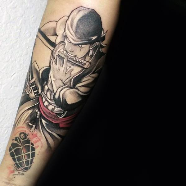 Inner Forearm Cool One Piece Tattoo Anime Design Ideas For Male