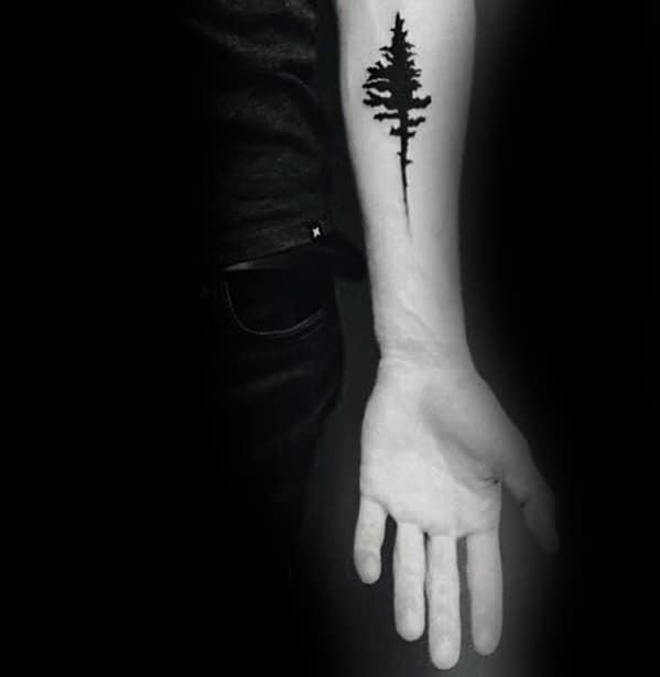 Inner Forearm Cool Simple Tree Tattoo Design Ideas For Men