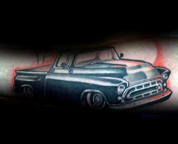 Inner Forearm Cool Vintage Truck Tattoos For Males