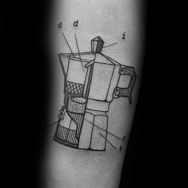 Inner Forearm Creative Coffee Tattoos For Men