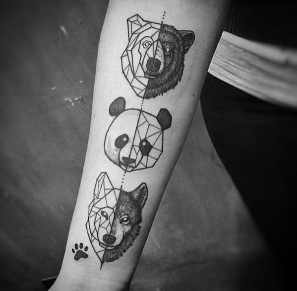 Inner Forearm Creative Geometric Animal Tattoos For Men