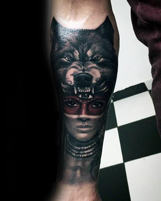 Inner Forearm Creative Sick Wolf Head With Tribal Woman Tattoos For Men
