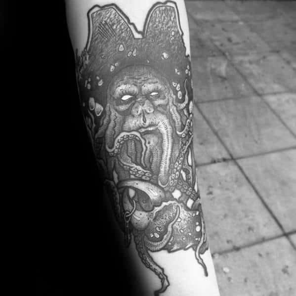 Inner Forearm Davy Jones Tattoo Ideas For Males