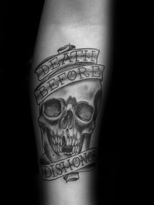 Inner Forearm Death Before Dishonor Skull Guys Tattoo Ideas
