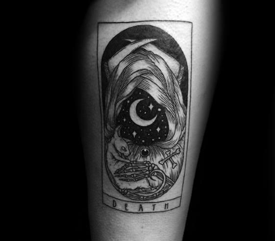 Inner Forearm Death Tarot Guys Tattoo Ideas