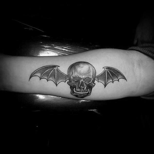 Inner Forearm Deathbat Shaded Male Tattoo Design Ideas