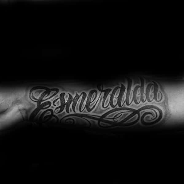 Inner Forearm Decorative Script Lettering Male Name Tattoo Designs