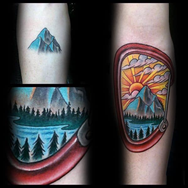 Inner Forearm Distinctive Male Rock Climbing Tattoo Designs