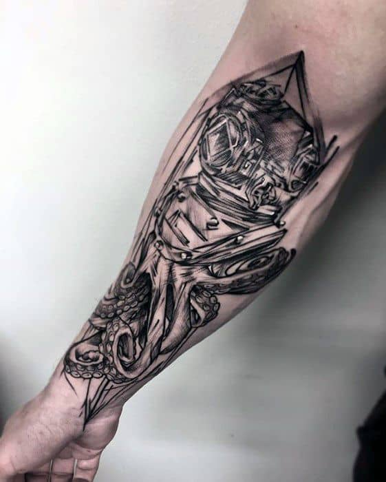 Inner Forearm Diving Helmet Tattoo Design Ideas For Males