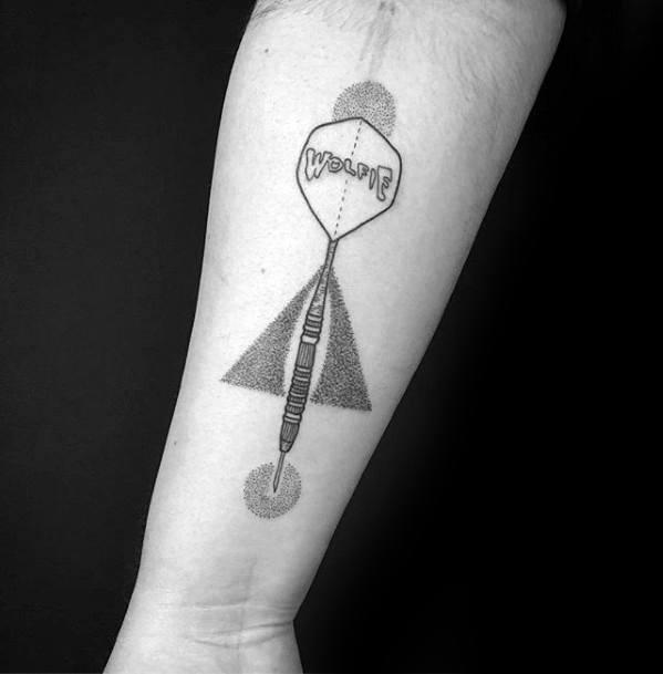 Inner Forearm Dotwork Geometric Unique Mens Dart Tattoos