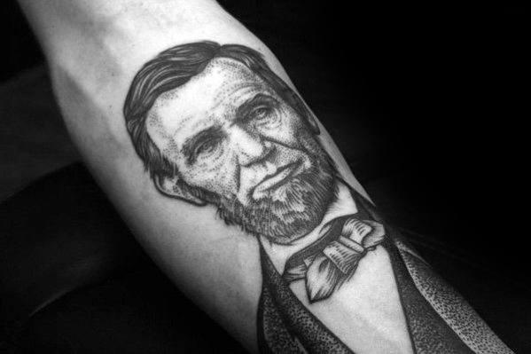 Inner Forearm Dotwork Incredible Abraham Lincoln Tattoos For Men
