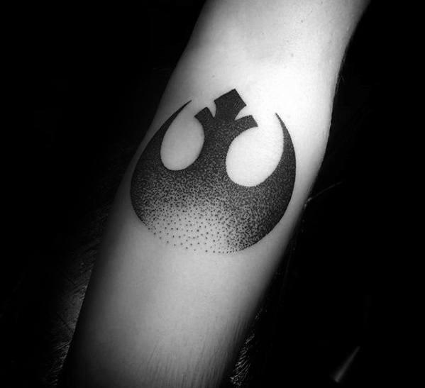 Inner Forearm Dotwork Male Rebel Alliance Tattoo Ideas