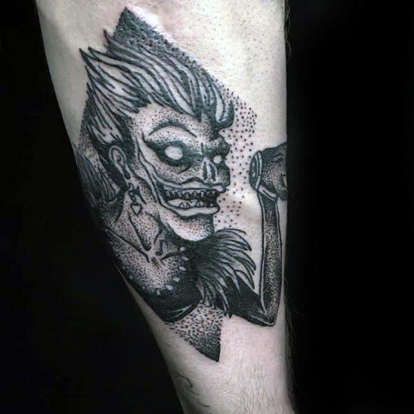 Inner Forearm Dotwork Masculine Death Note Tattoos For Men